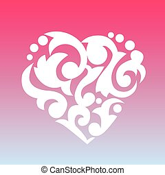 patterned, heart., elemento, para, seu, design.