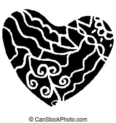 Patterned heart. vector illustration. Drawing by hand.