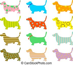 patterned hound dogs - patterned wallpaper background design...