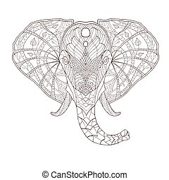 patterned, illustration., etnische indiaan, totem, van een ...