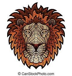 patterned, lion., cabeça, ornate, étnico