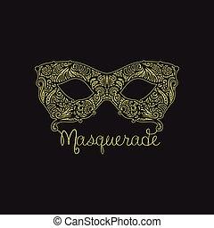 patterned masquerade Mask - Monochrome vector Masquerade ...