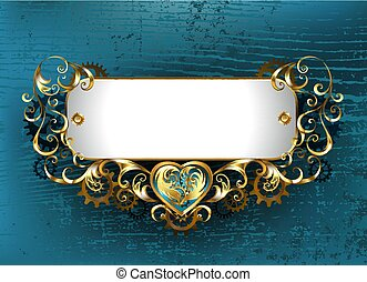 Patterned nameplate - Gold, antique, jewelry Steampunk...