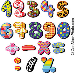 Patterned numbers - Colorful patterned numbers set