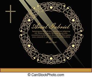 patterned, obituary, dourado, simples, luz, grinalda, luxuoso, filigrana, pretas, anúncio, fundo, enterro, círculo, design., rays., crucifixo