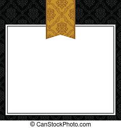 patterned, quadro, vetorial, fita ouro