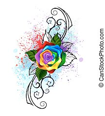Patterned rainbow rose - bright rainbow rose with spiked ...