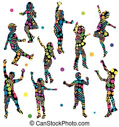 Patterned silhouettes of children - Patterned colorful...