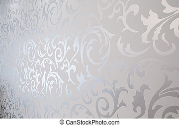 Patterned silver wallpaper - Close-up of patterned silver...