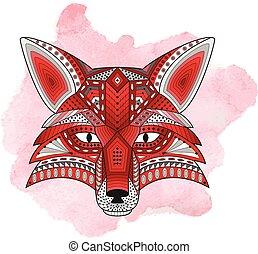 Patterned stylized silhouette of head fox