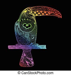 Patterned toucan drawing. Hand Drawn doodle toucan. Rainbow gradient toucan