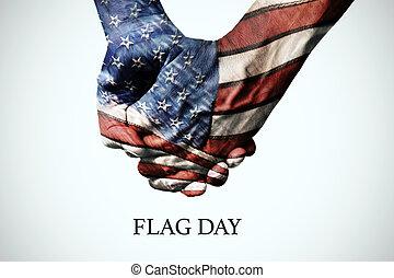 patterned, usa, tekst, vlag, handen, dag