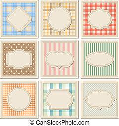 patterned, vindima, set., modelos, cartão