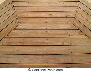 Patterned Weathered Wooden Deck - Wooden slats on a...