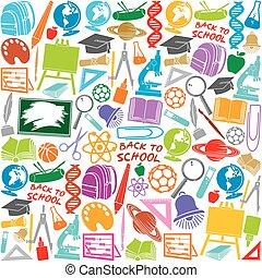 pattern.eps, escola, seamless, ícones