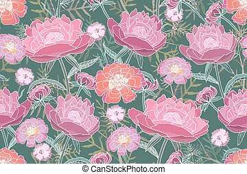 pattern.peony, vector, floral, tagetes., seamless, arte