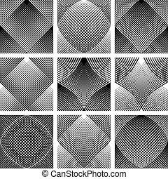 patterns., óptico, côncavo, malha, convexo, effect.