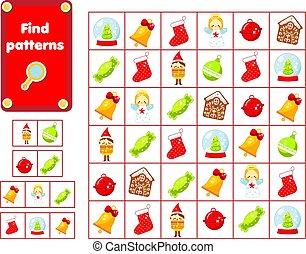 patterns., bambini, pre, game., trovare, nuovo, attività,...