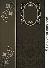 patterns., decoratief, achtergrond, ornate kader, ouderwetse