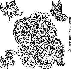 Patterns, Flowers and Butterfly Contours