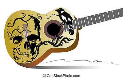 patterns guitar rock design and skulls danger