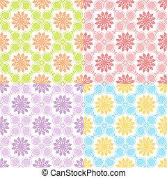 patterns., illustration, seamless, sätta, vektor, fyra