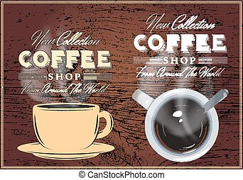 patterns of coffee with inscriptions on background with...
