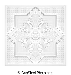 Patterns on the ceiling gypsum sheets of white flowers