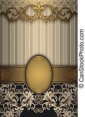 patterns., or, décoratif, fond, vendange