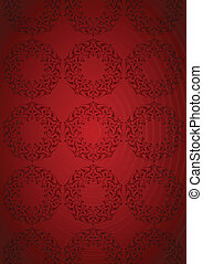 Patterns over red background