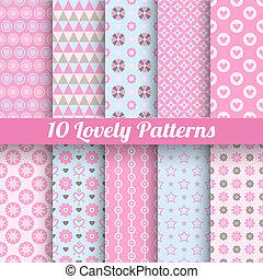 patterns, (tiling, бесшовный, swatch)., вектор, прекрасный