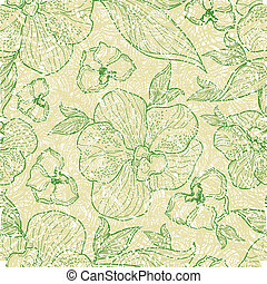 Patterns with flowers and leafs - Vector seamless floral...
