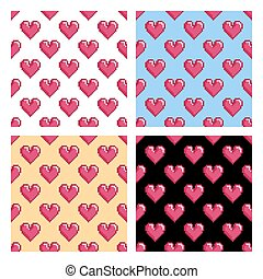 Patterns with pixel hearts
