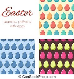 Patterns withe eggs - Set of seamless patterns with...