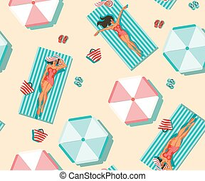 patterns without seams girls in swimsuit sunbathing on the beach or surf floats on a rubber disc with a Flamingo