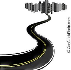 pattes, ville, vecteur, route