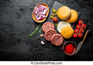 patties., burgers., carne, hambúrguer, cozinhar, cru