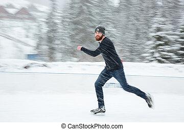 pattinaggio, bello, fuori, ghiaccio, uomo