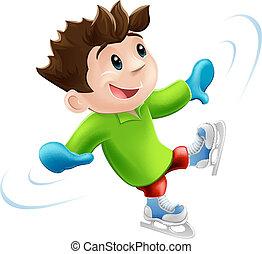 pattinaggio, cartone animato, ghiaccio