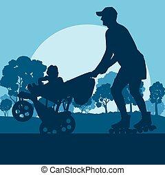 pattinaggio, famiglia, parco, vettore, fondo, inline, ...