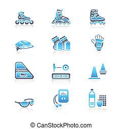 pattinaggio, icone, serie, inline, marino, |
