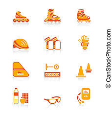 pattinaggio, icone, serie, succoso, inline, |