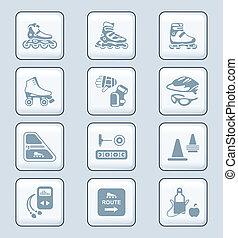 pattinaggio, icone, serie, tecnologia, inline, |