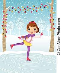pattinaggio, piccola ragazza, ghiaccio