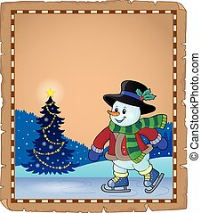 pattinaggio, pupazzo di neve, pergamena