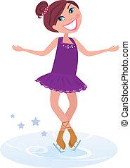 pattinaggio, ragazza, ghiaccio, figura
