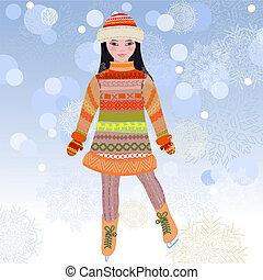 pattinaggio, ragazza, ghiaccio inverno