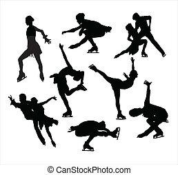 pattinaggio, vectors, silhouette, figura