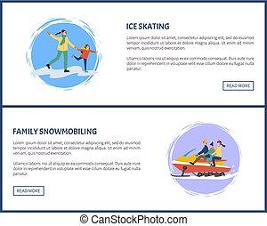 pattinare ghiaccio, e, famiglia, snowmobiling, attivo,...