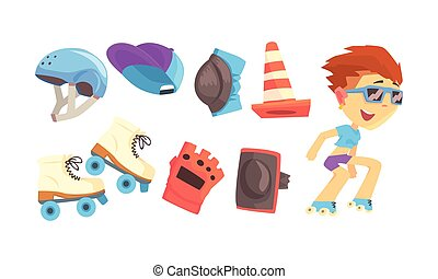 pattinatore, vettore, pattinaggio, alto, set, uomo, velocità...